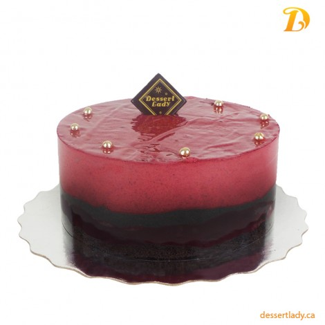 Cassis (Black Currant) Mousse with Flourless Chocolate Cake (gluten-free)