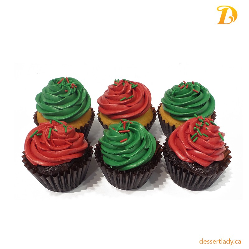 classic assortment cupcakes of christmas colored icing sprinkes