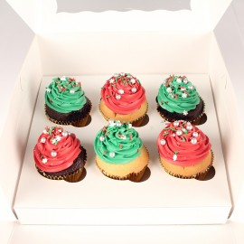 Traditional Cupcakes w/ Christmas Theme Decorations