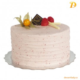 Vanilla Cake w/ Lemon Curd Filling and Raspberry Buttercream Icing