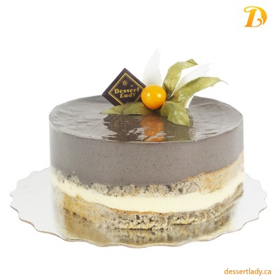 "8"" Black Sesame Mousse Cake with Smoked Vanilla Custard Filling"