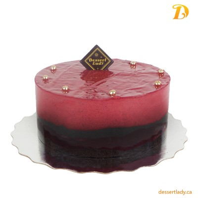 "6"" Cassis (Black Currant) Mousse Cake with Flourless Chocolate Cake (gluten-free)"