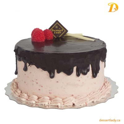 "8"" Double Chocolate Cake with Raspberry Buttercream Icing"