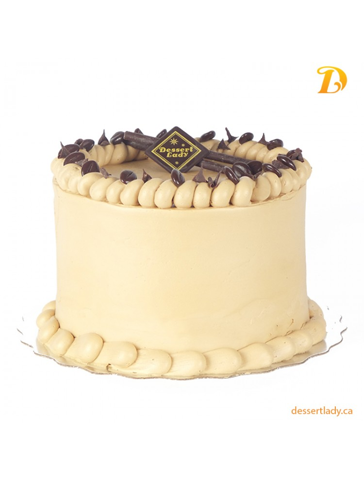 """5"""" Double Chocolate Cake with Caramel Crisp and Coffee Buttercream"""