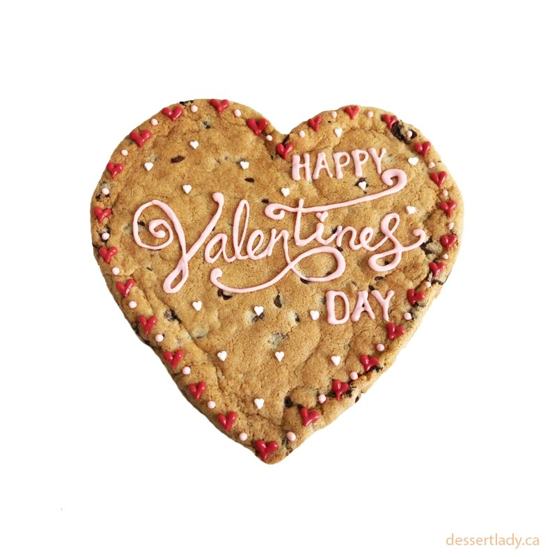 """Valentines Giant Chocolate Chip Cookie 8"""" With Custom Message Option 2"""