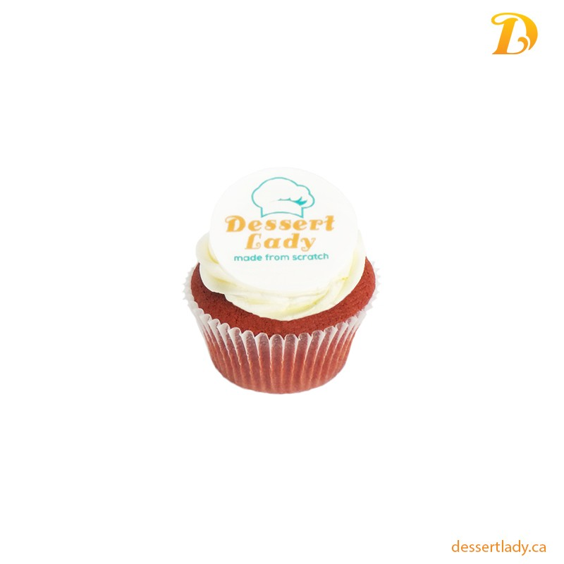 Red Velvet Cupcake with Logo
