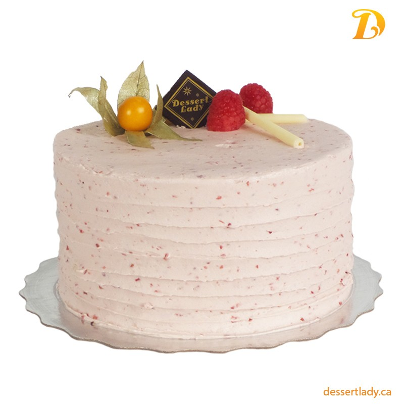 Vanilla Cake w/ Lemon Curd Filling and Raspberry Buttercream Icing